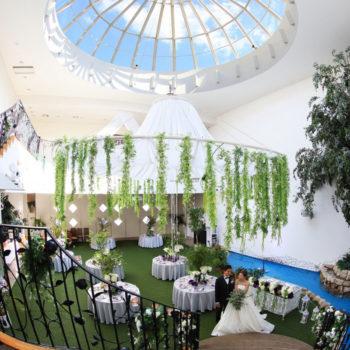 高さ13.5mの天井から差し込む自然光が溢れる屋内ガーデン
